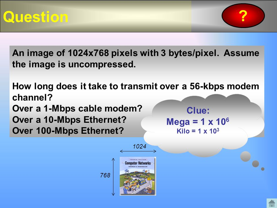 Question ? An image of 1024x768 pixels with 3 bytes/pixel. Assume the image is uncompressed. How long does it take to transmit over a 56-kbps modem ch