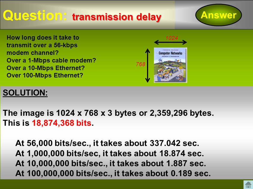 transmission delay Question: transmission delay SOLUTION: The image is 1024 x 768 x 3 bytes or 2,359,296 bytes. This is 18,874,368 bits. At 56,000 bit