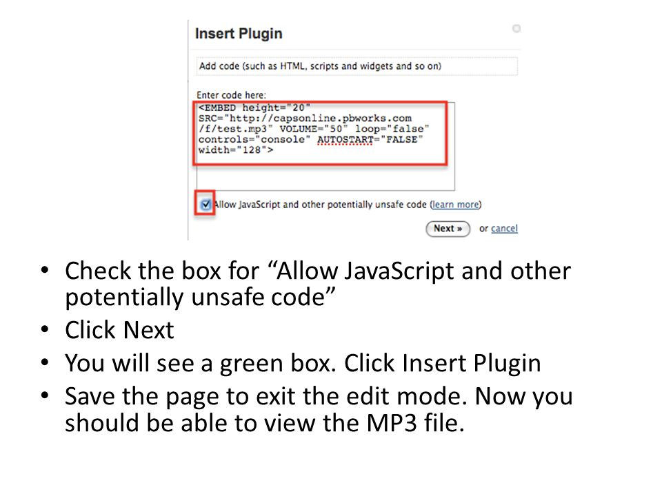 Check the box for Allow JavaScript and other potentially unsafe code Click Next You will see a green box.
