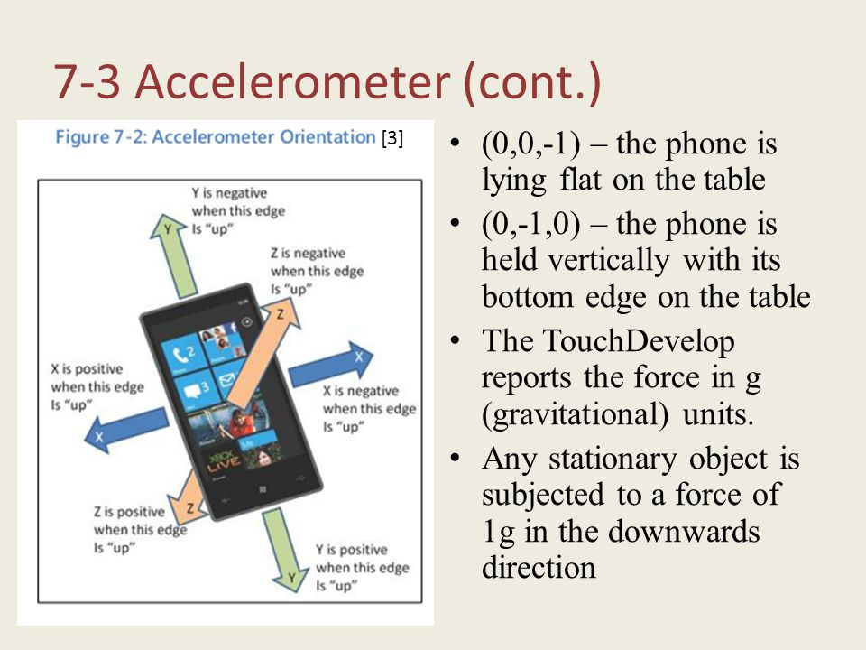 7-3 Accelerometer (cont.) (0,0,-1) – the phone is lying flat on the table (0,-1,0) – the phone is held vertically with its bottom edge on the table Th