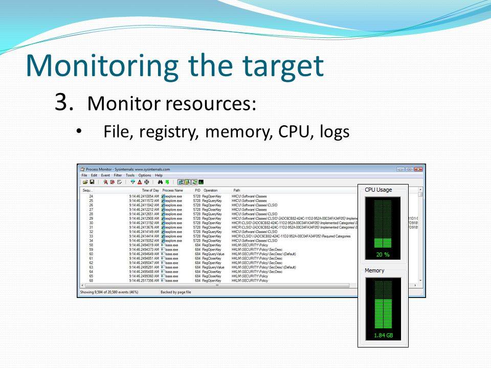 Monitoring the target 3. Monitor resources: File, registry, memory, CPU, logs