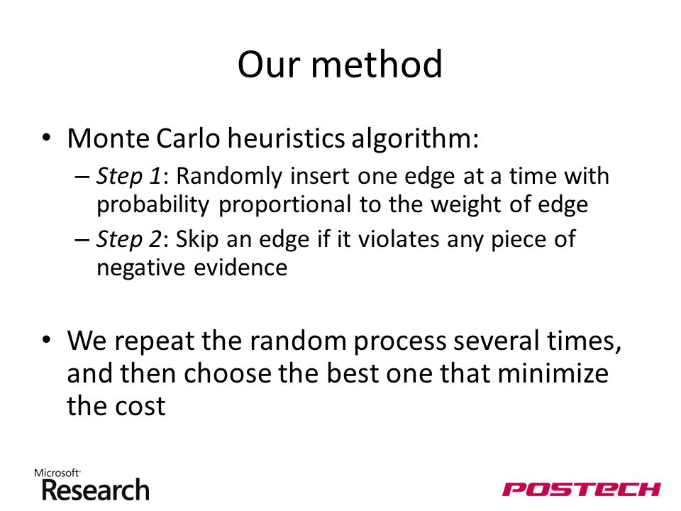 Our method Monte Carlo heuristics algorithm: – Step 1: Randomly insert one edge at a time with probability proportional to the weight of edge – Step 2: Skip an edge if it violates any piece of negative evidence We repeat the random process several times, and then choose the best one that minimize the cost