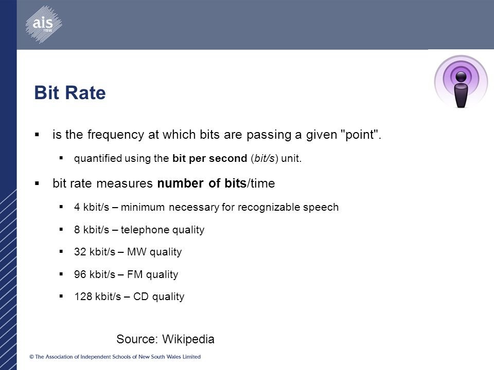 Bit Rate  is the frequency at which bits are passing a given point .