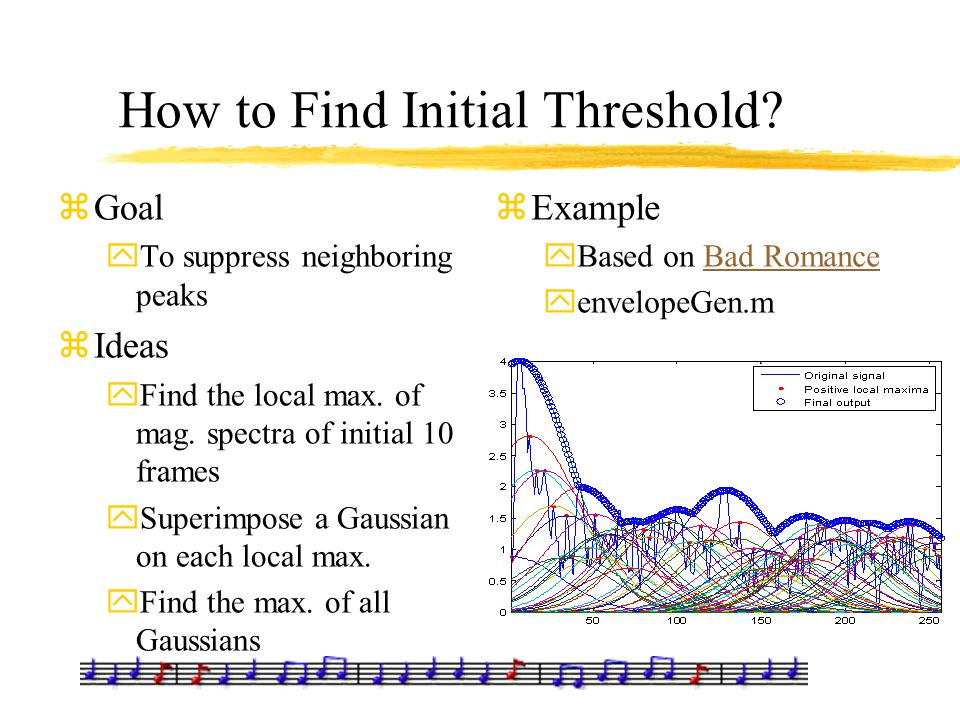 How to Find Initial Threshold? zGoal yTo suppress neighboring peaks zIdeas yFind the local max. of mag. spectra of initial 10 frames ySuperimpose a Ga