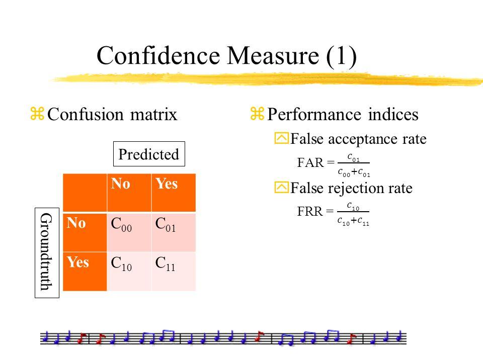 Confidence Measure (1) zConfusion matrix NoYes NoC 00 C 01 YesC 10 C 11 Predicted Groundtruth