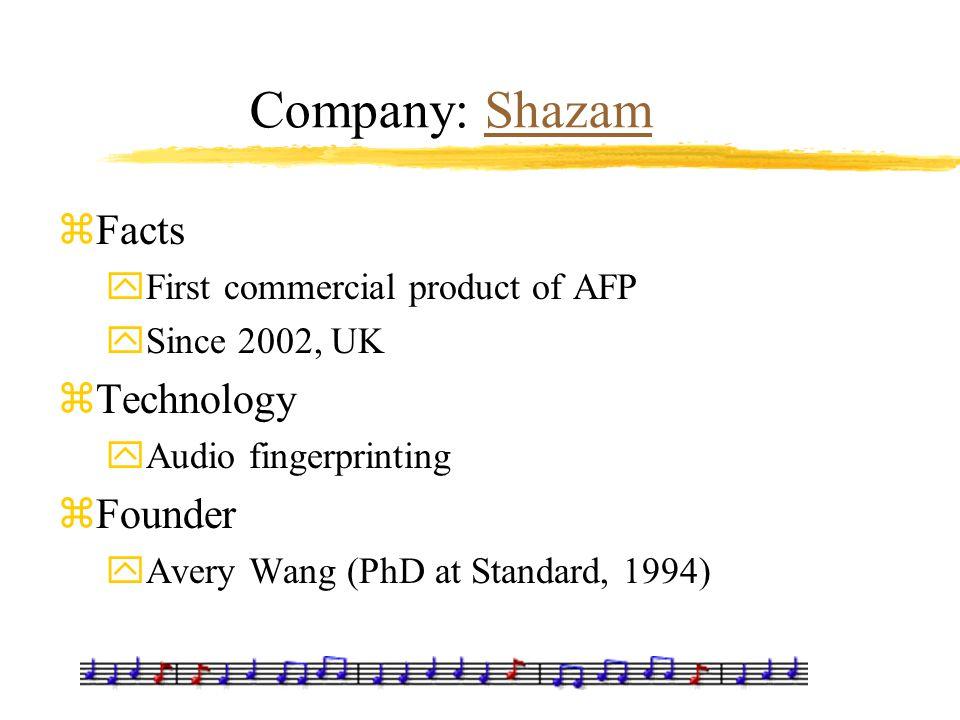 Company: ShazamShazam zFacts yFirst commercial product of AFP ySince 2002, UK zTechnology yAudio fingerprinting zFounder yAvery Wang (PhD at Standard,
