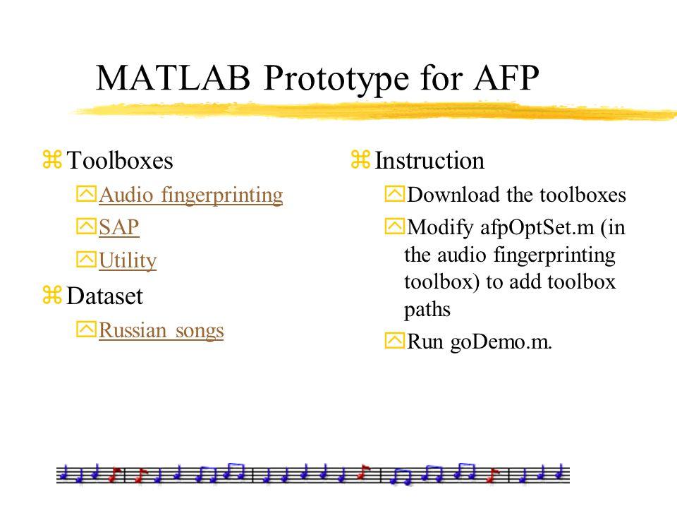 MATLAB Prototype for AFP zToolboxes yAudio fingerprintingAudio fingerprinting ySAPSAP yUtilityUtility zDataset yRussian songsRussian songs zInstructio