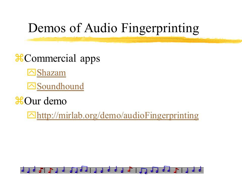 Demos of Audio Fingerprinting zCommercial apps yShazamShazam ySoundhoundSoundhound zOur demo yhttp://mirlab.org/demo/audioFingerprintinghttp://mirlab.