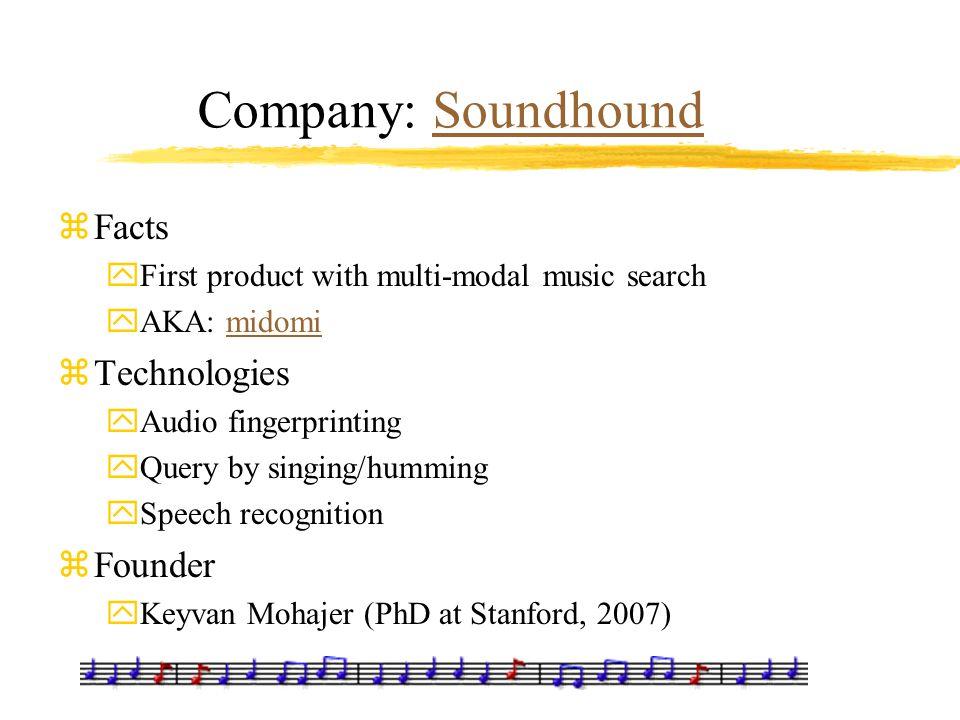 Company: SoundhoundSoundhound zFacts yFirst product with multi-modal music search yAKA: midomimidomi zTechnologies yAudio fingerprinting yQuery by sin