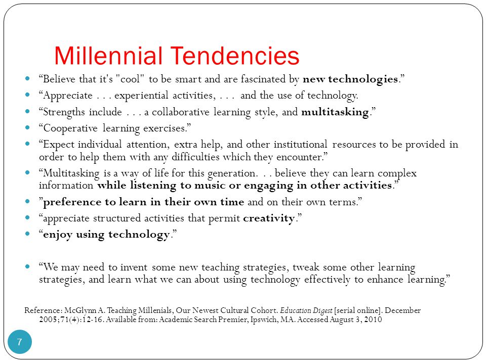 "Millennial Tendencies 7 ""Believe that it's"
