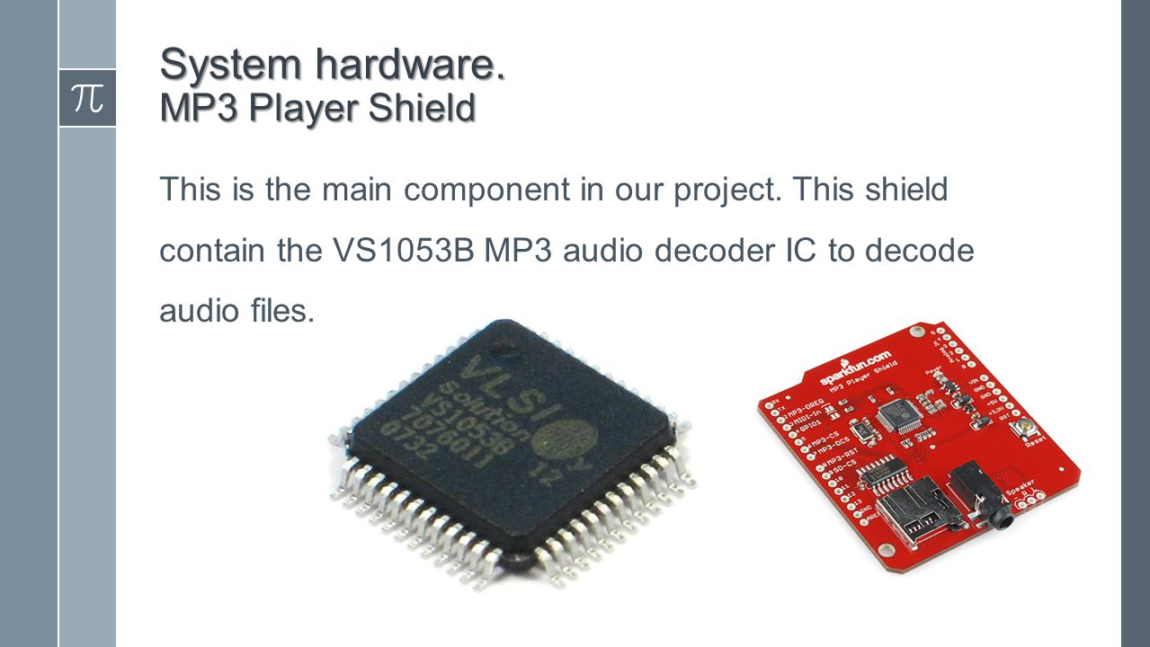 System hardware. MP3 Player Shield This is the main component in our project.