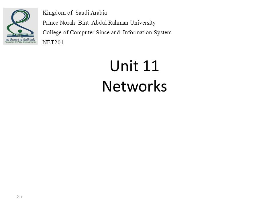 Unit 11 Networks 25 Kingdom of Saudi Arabia Prince Norah Bint Abdul Rahman University College of Computer Since and Information System NET201