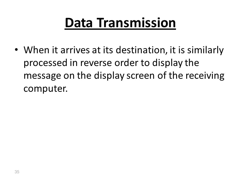 When it arrives at its destination, it is similarly processed in reverse order to display the message on the display screen of the receiving computer.