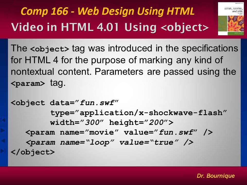 Video in HTML 4.01 Using Video in HTML 4.01 Using The tag was introduced in the specifications for HTML 4 for the purpose of marking any kind of nontextual content.