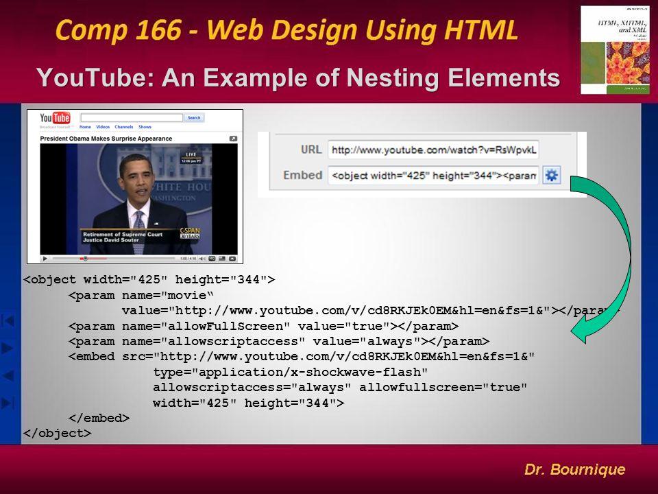 19 YouTube: An Example of Nesting Elements <param name= movie value= http://www.youtube.com/v/cd8RKJEk0EM&hl=en&fs=1& > <embed src= http://www.youtube.com/v/cd8RKJEk0EM&hl=en&fs=1& type= application/x-shockwave-flash allowscriptaccess= always allowfullscreen= true width= 425 height= 344 >