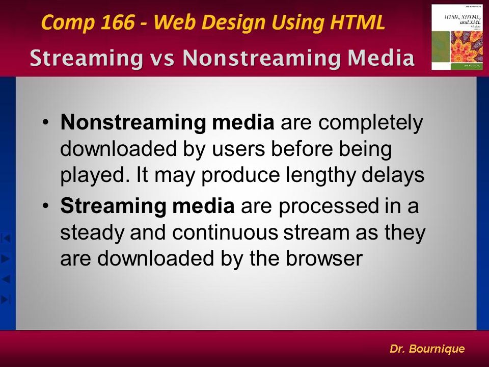 9 Streaming vs Nonstreaming Media Nonstreaming media are completely downloaded by users before being played.