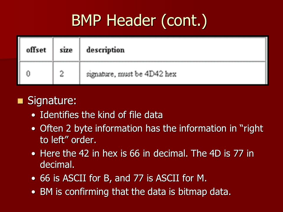 BMP Header (cont.) Signature: Signature: Identifies the kind of file dataIdentifies the kind of file data Often 2 byte information has the information in right to left order.Often 2 byte information has the information in right to left order.