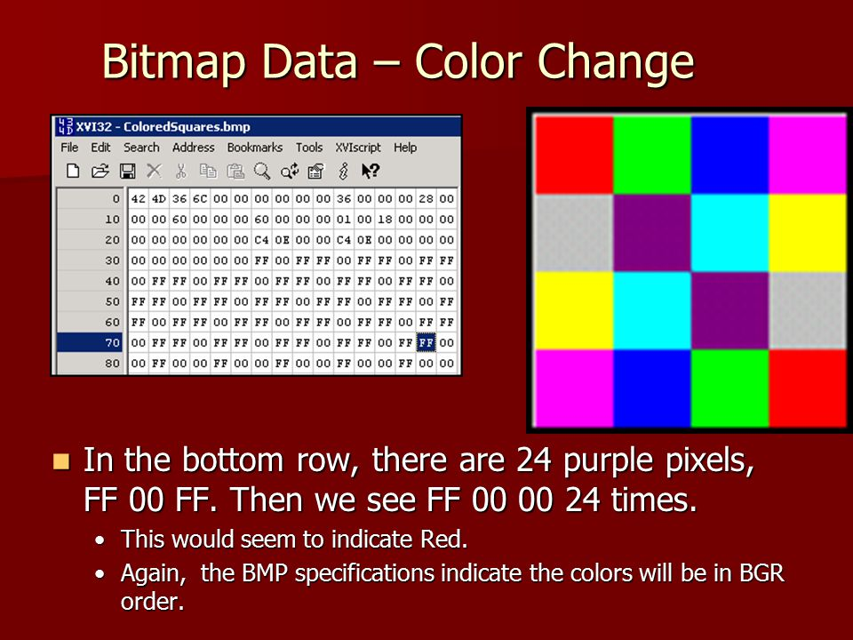 Bitmap Data – Color Change In the bottom row, there are 24 purple pixels, FF 00 FF. Then we see FF 00 00 24 times. In the bottom row, there are 24 pur