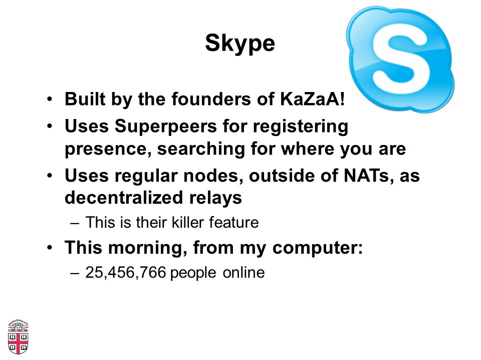 Skype Built by the founders of KaZaA.