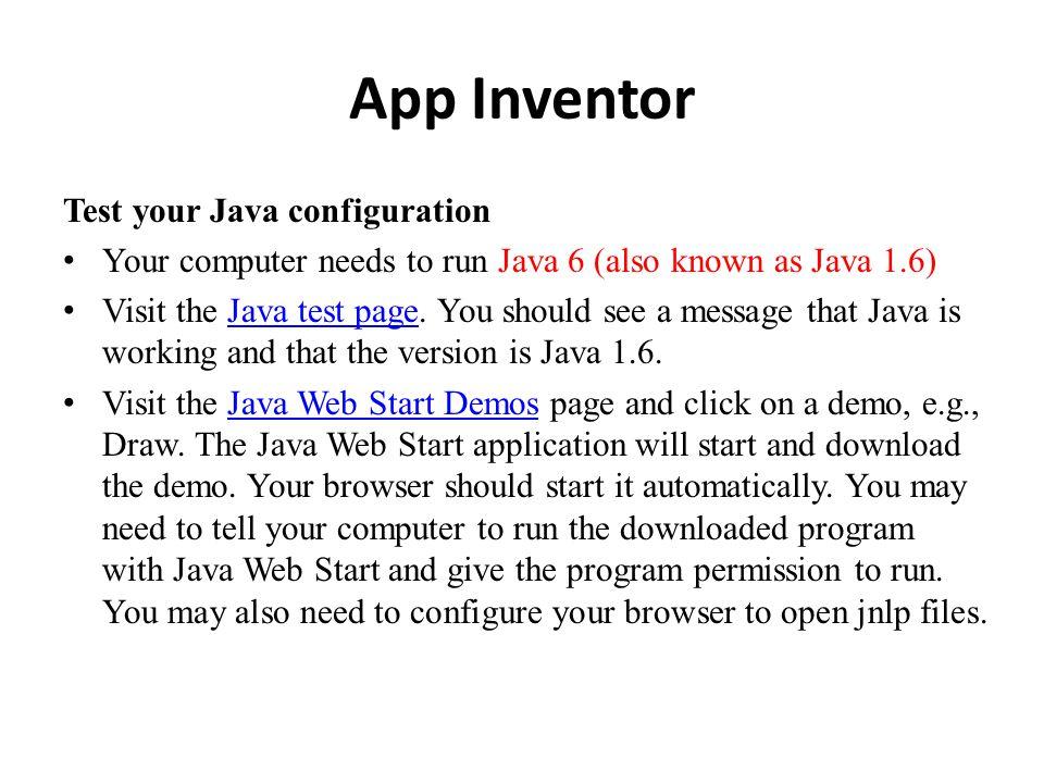 App Inventor - Java test page Java test page
