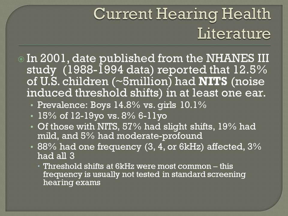  In 2001, date published from the NHANES III study (1988-1994 data) reported that 12.5% of U.S.