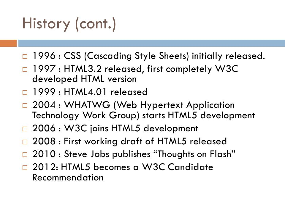 History (cont.)  1996 : CSS (Cascading Style Sheets) initially released.