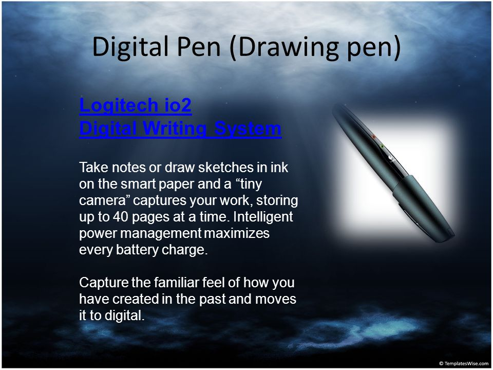 "Digital Pen (Drawing pen) Logitech io2 Digital Writing System Take notes or draw sketches in ink on the smart paper and a ""tiny camera"" captures your"