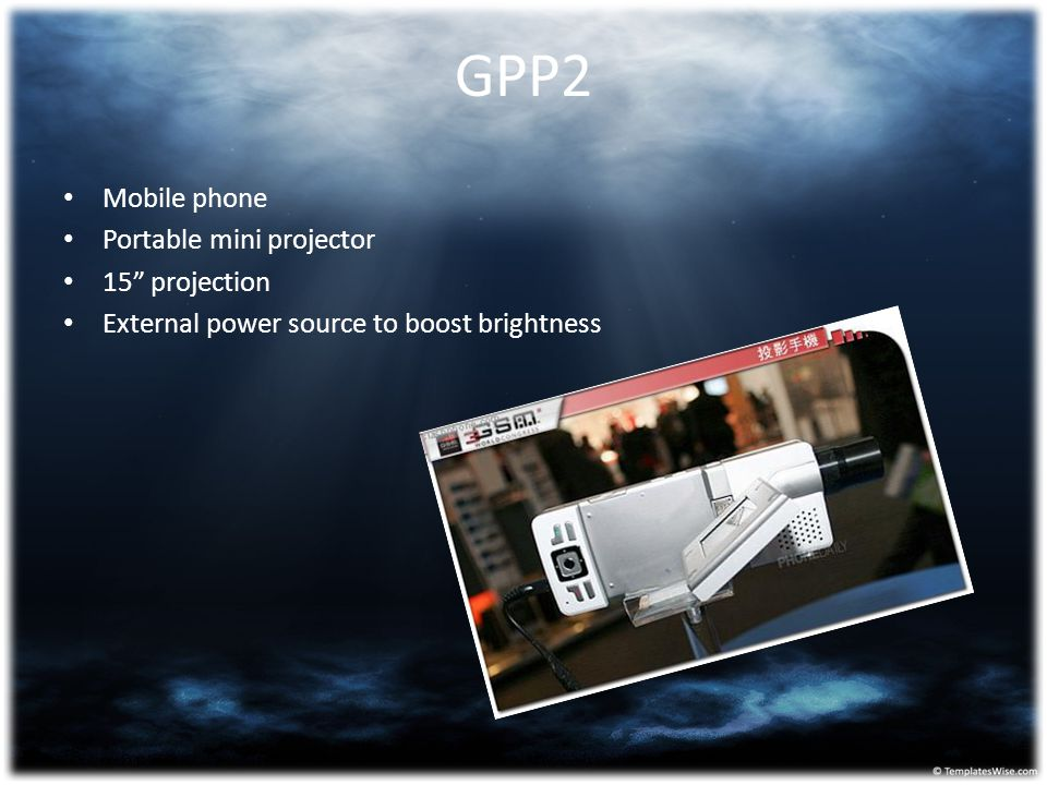 "GPP2 Mobile phone Portable mini projector 15"" projection External power source to boost brightness"