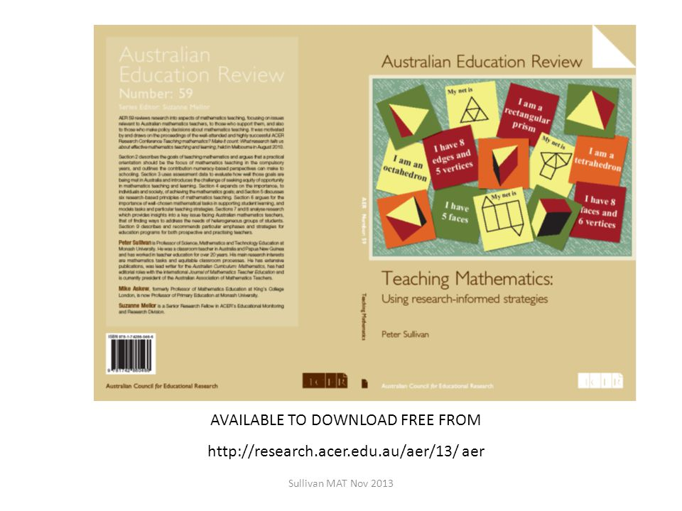 AVAILABLE TO DOWNLOAD FREE FROM http://research.acer.edu.au/aer/13/ aer Sullivan MAT Nov 2013