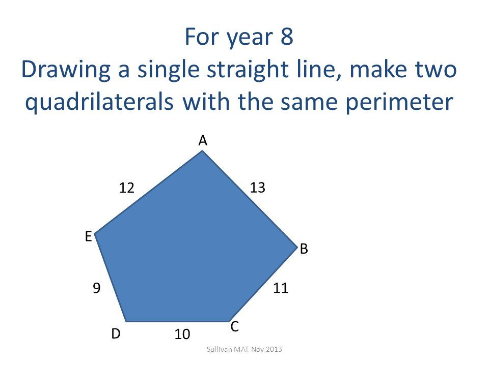 For year 8 Drawing a single straight line, make two quadrilaterals with the same perimeter Sullivan MAT Nov 2013 12 9 10 11 13 C B A D E