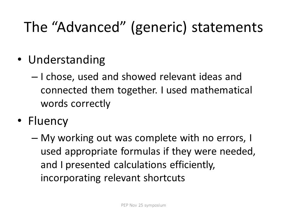The Advanced (generic) statements Understanding – I chose, used and showed relevant ideas and connected them together.