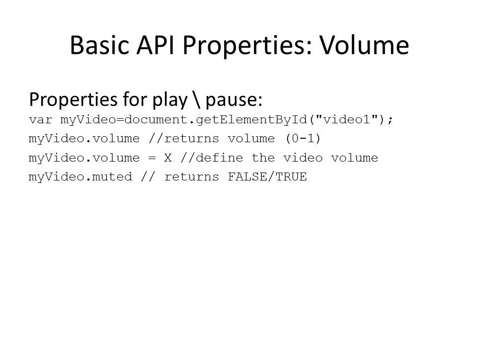 Basic API Properties: Volume Properties for play \ pause: var myVideo=document.getElementById(