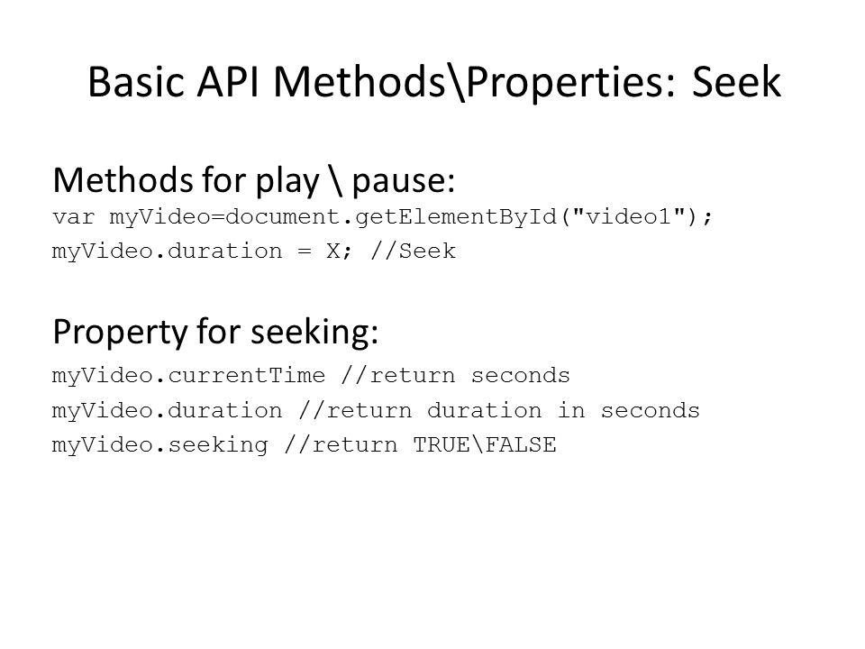 Basic API Methods\Properties: Seek Methods for play \ pause: var myVideo=document.getElementById(