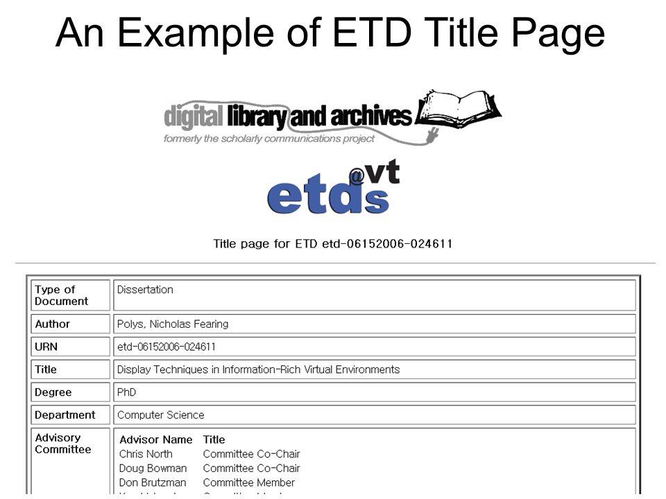 ETD Splash Page ETD Metadata Files* Type of Document Author Metadata … Filename Size Approximate Download Time 288 Modem Metadata …