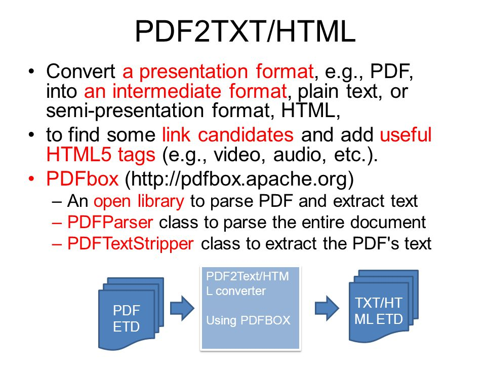 PDF2TXT/HTML Convert a presentation format, e.g., PDF, into an intermediate format, plain text, or semi-presentation format, HTML, to find some link candidates and add useful HTML5 tags (e.g., video, audio, etc.).