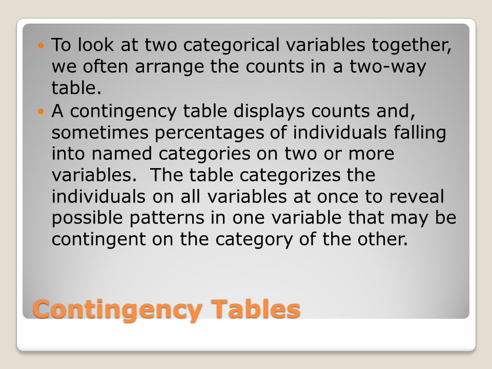 Contingency Tables To look at two categorical variables together, we often arrange the counts in a two-way table.