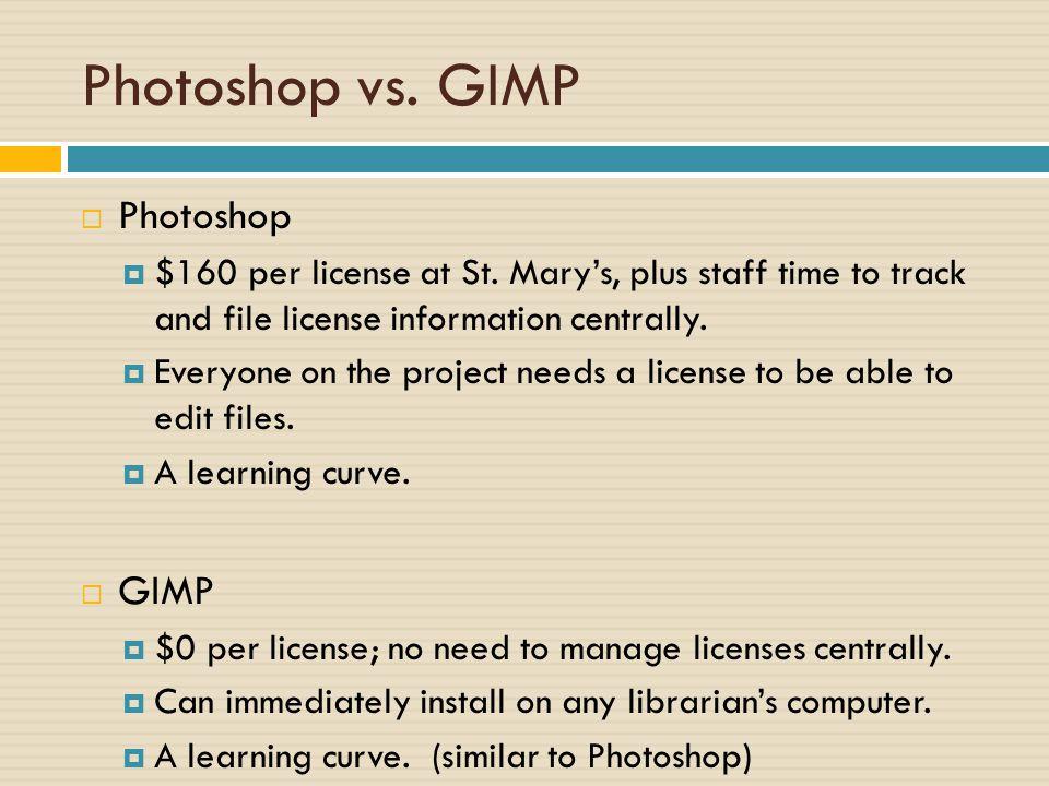 Photoshop vs. GIMP  Photoshop  $160 per license at St.