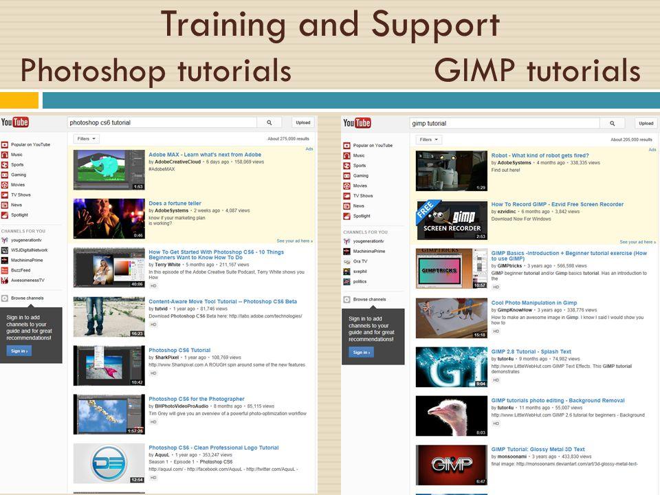 Training and Support Photoshop tutorials GIMP tutorials
