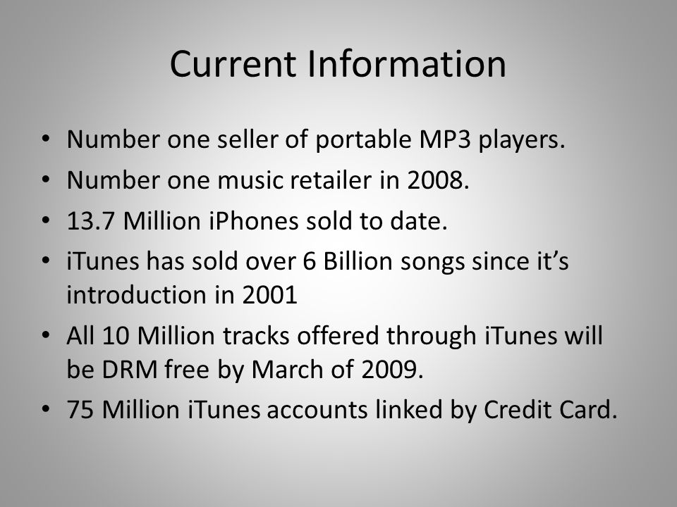 Current Information Number one seller of portable MP3 players.
