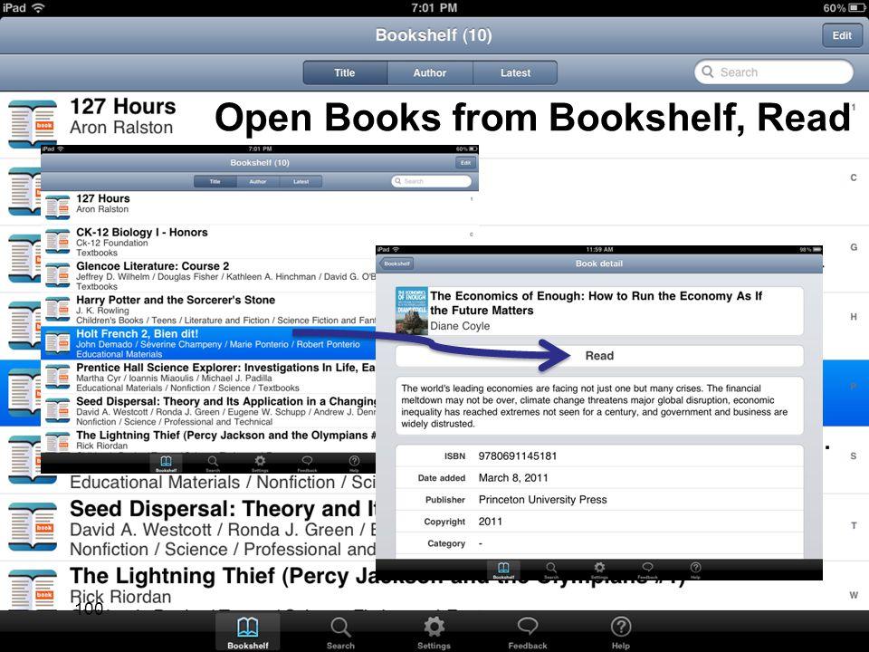 Open Books from Bookshelf, Read 100