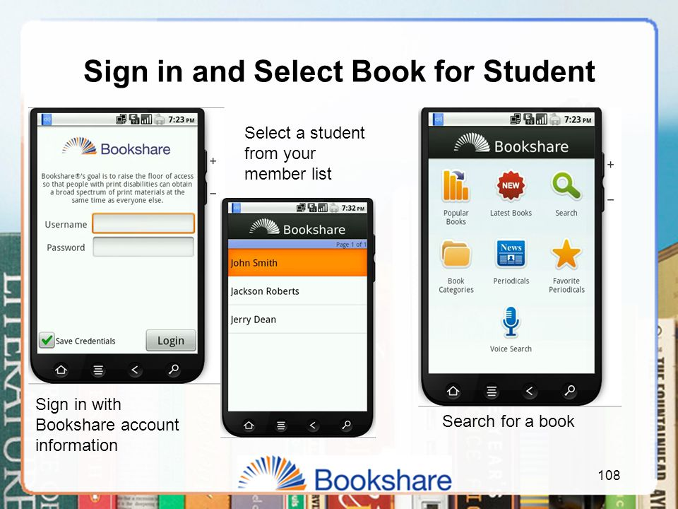 Sign in and Select Book for Student 108 Sign in with Bookshare account information Select a student from your member list Search for a book