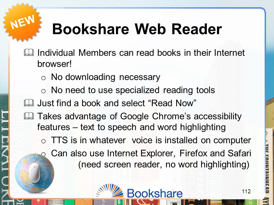 Bookshare Web Reader  Individual Members can read books in their Internet browser.