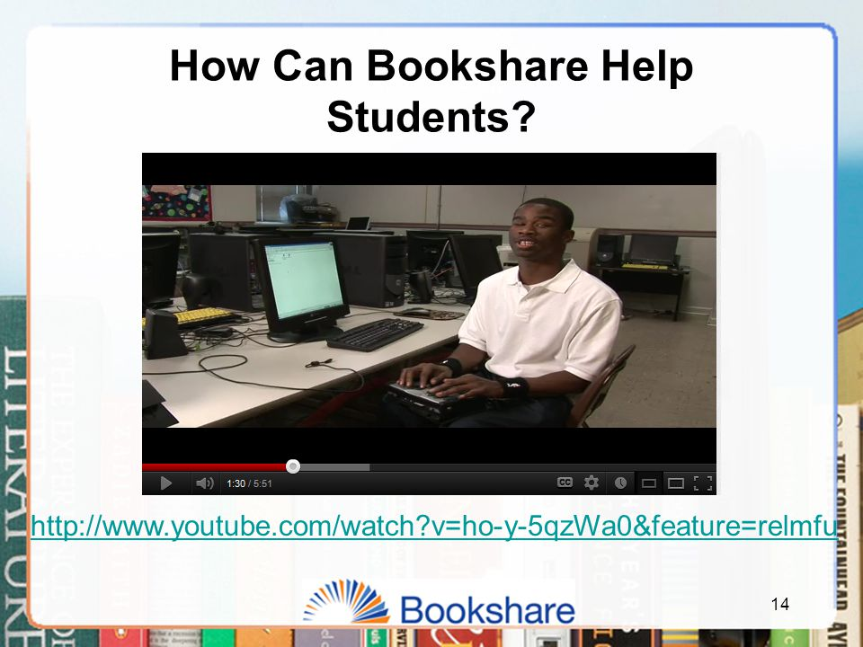 14 How Can Bookshare Help Students? http://www.youtube.com/watch?v=ho-y-5qzWa0&feature=relmfu