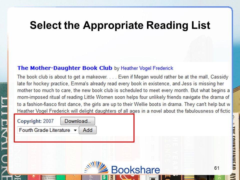 Select the Appropriate Reading List 61
