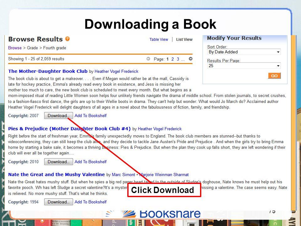 Downloading a Book 75 Click Download