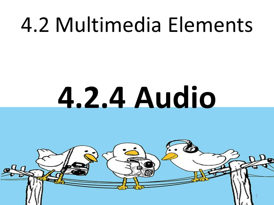 4.2 Multimedia Elements 4.2.4 Audio 1