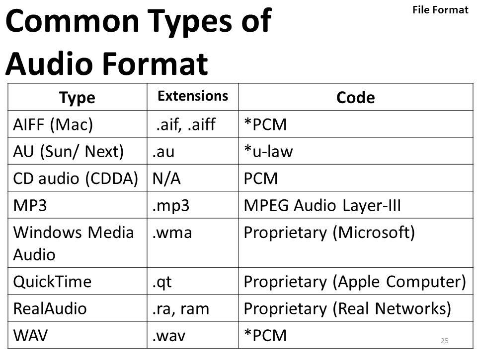 25 Common Types of Audio Format Type Extensions Code AIFF (Mac).aif,.aiff*PCM AU (Sun/ Next).au*u-law CD audio (CDDA)N/APCM MP3.mp3MPEG Audio Layer-II