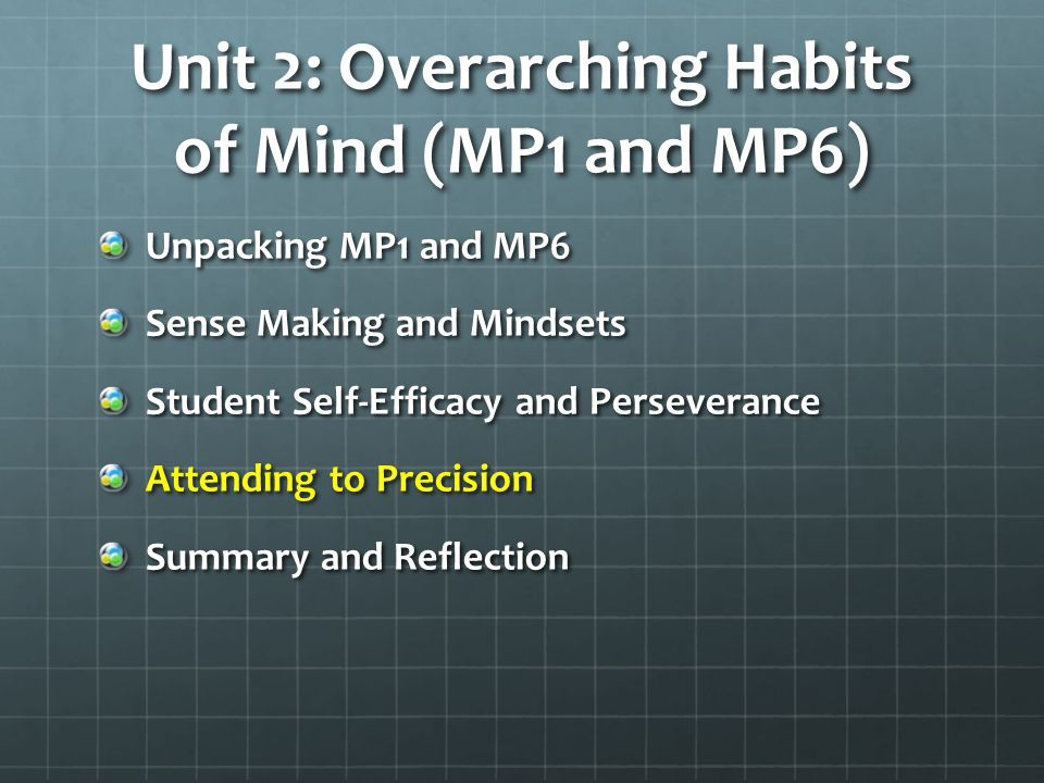 Unit 2: Overarching Habits of Mind (MP1 and MP6) Unpacking MP1 and MP6 Sense Making and Mindsets Student Self-Efficacy and Perseverance Attending to P