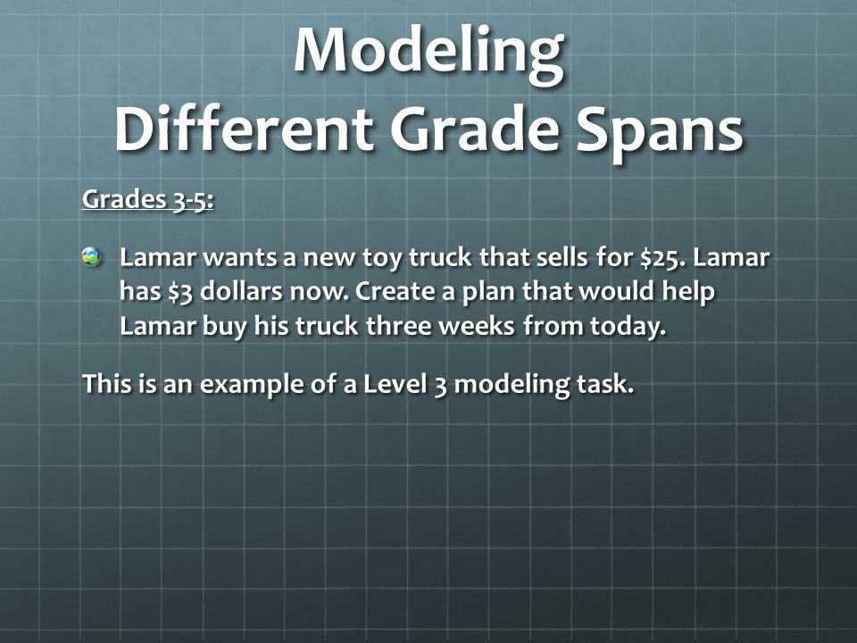 Modeling Different Grade Spans Grades 3-5: Lamar wants a new toy truck that sells for $25. Lamar has $3 dollars now. Create a plan that would help Lam