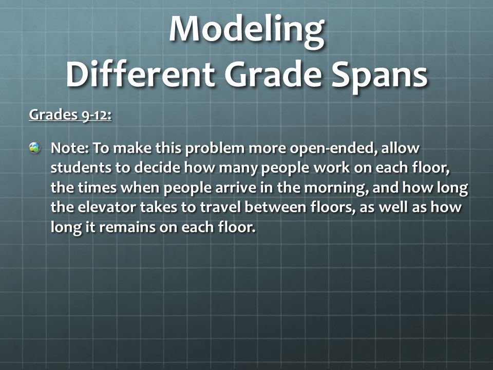 Modeling Different Grade Spans Grades 9-12: Note: To make this problem more open-ended, allow students to decide how many people work on each floor, t